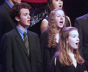 Members of the Amherst Regional High School Chorale performing during the finals